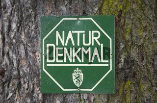 Schild Naturdenkmal, Steiermark, Österreich