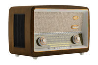 vintage radio isolated on white background. 3d illustration