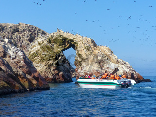 Tourists watching wildlife in Ballestas Islands Reserve in Peru