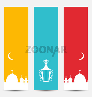 Set Colorful Banners with Symbols for Ramadan Kareem