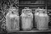 old milk canisters at a farm
