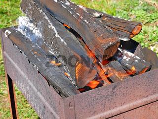 Firewood burning in metal tray