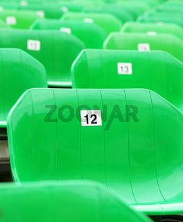 Grüne Sitzreihen Nahaufnahme
