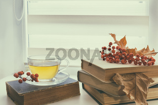Cup of tea, old books, autumn leaves and berries