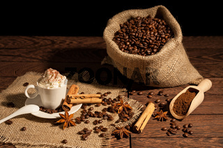 Coffee with whipped cream and cocoa powder