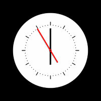 simple clock with red hand at nearly twelve