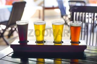 Four sorts of beer. Beer tasting