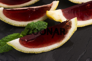 Lemon vodka blackcurrant jelly (jello) shots