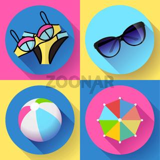 Women Beach icon set. Swimsuit, ball, sunglasses, umbrella. Flat design style.