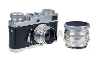 Old Film Camera and Lens Isolated