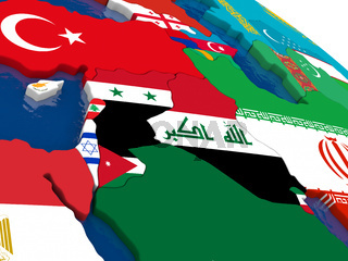 Israel, Lebanon, Jordan, Syria and Iraq region on 3D map with flags