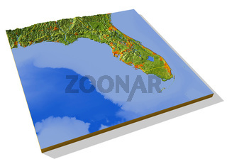 Florida, 3D relief map.
