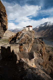 Dhankar Monastery Valley Below Vertical