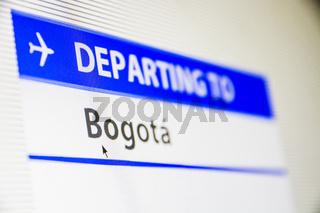 Computer screen close-up of flight to Bogota