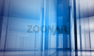 Indoor building. Office space with blue light effects