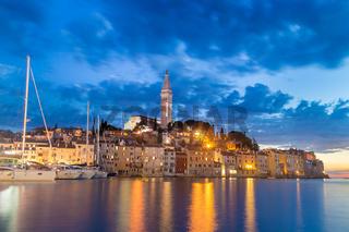 Coastal town of Rovinj, Istria, Croatia in sunset.