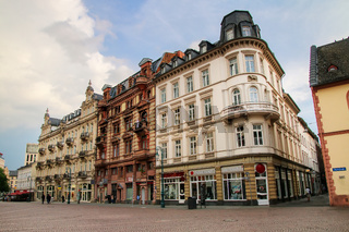 Historic houses on Schlossplatz square in Wiesbaden, Hesse, Germany