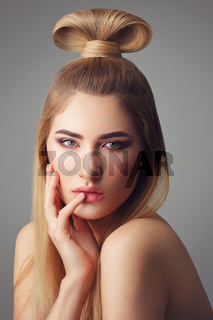 Beautiful blond girl with long hair
