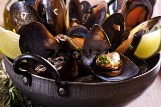 Mussels in White Wine as closeup in a Stewpot