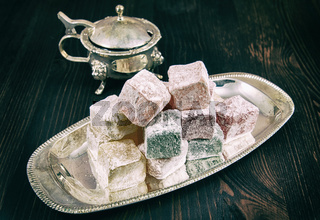 Rose flavoured Turkish delight in traditional silver bowl