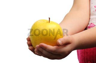 Yellow apple on hand
