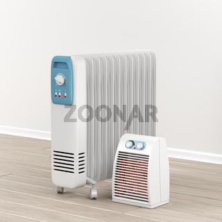 Oil-filled radiator and fan heater