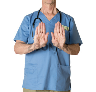 Senior doctor in scrubs refusing entry