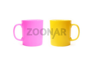 Two color ceramic cups