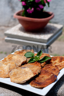 Cool and delicious slices of fried eggplant,food