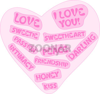 Pink heart with love signs