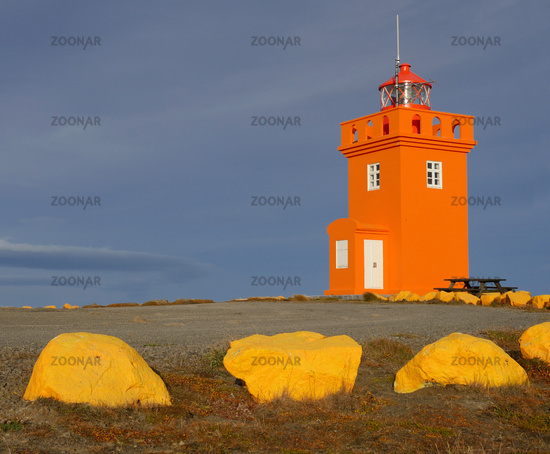 The lighthouse of raufarhofn at the north coast of Iceland