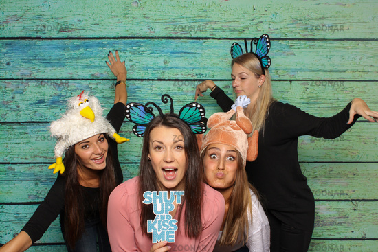 crazy chickens on a photobooth party