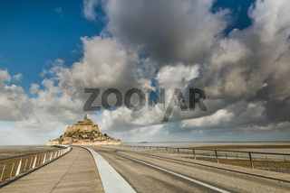 Road on new bridge to Mont Saint Michel in France