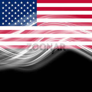 Abstract elegant wave design on USA flag with space for your text