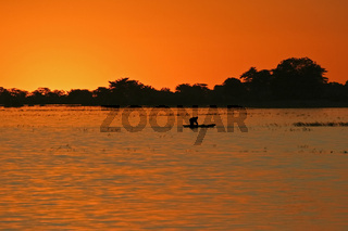 Fischerboot im Sonnenuntergang auf dem Chobe Fluss, Chobe River, Chobe National Park, Botswana, Afrika, fishing boat at sunset, Africa