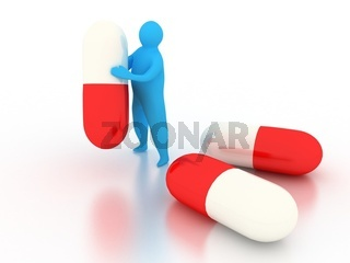 3d abstract person with pills over white