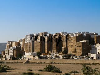 Panorama of Shibam mud skyscrapers, Hadramout Yemen