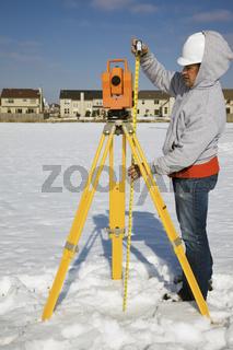 Measuring height of theodolite