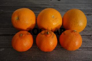 Citrus x clementina, Citrus x sinensis, Clementine, Orange