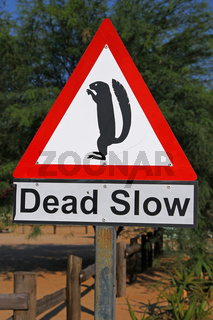 Warnschild Wildwechel in Namibia; signpost animals at a street in Namibia