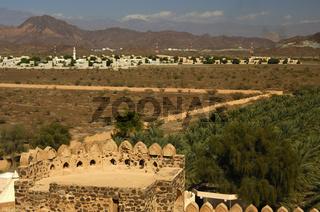 Zinnen des Fort Jabrin, Oman