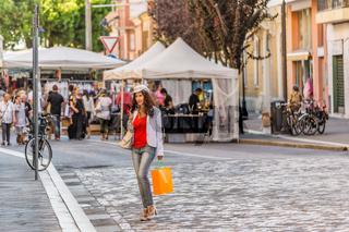 woman shopping in Italian street market