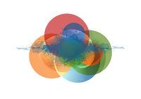 Abstract colorful circles and grunge blot