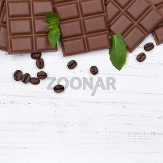 Schokolade Milchschokolade Tafel Essen quadratisch Textfreiraum von oben