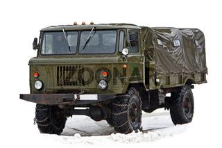 Vintage soviet truck under rain