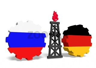 russian and germany flags on gears, gas rig between them