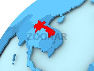 Laos on blue globe