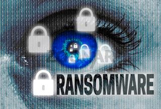 ransomware auge blickt auf betrachter konzept