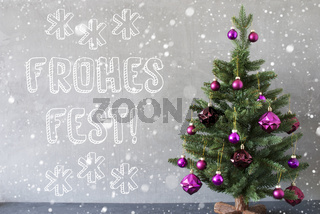 Tree, Snowflakes, Cement Wall, Frohes Fest Means Merry Christmas