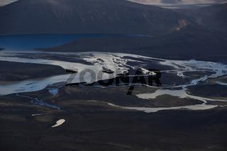 Landschaft rund um Landmannalaugar Iceland aus der Luft